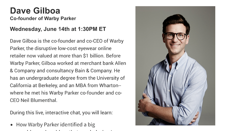 3df188c9200 Inc. Startup Live Chat with Dave Gilboa, Co-founder of Warby Parker ...